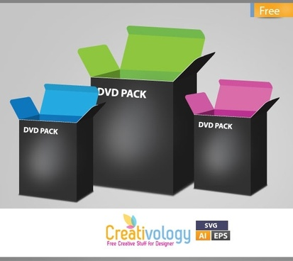 dvd pack advertising banner 3d realistic icons