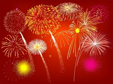 sparkling fireworks background colorful flat design