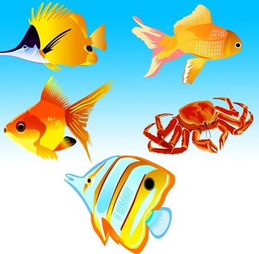 fishes crab icons collection various colorful types