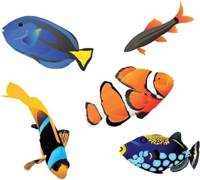 fishes icons collection realistic style design