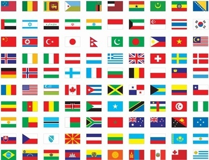 worlds nation flags collection flat colorful design