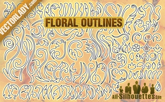 Free Vector Floral Outlines