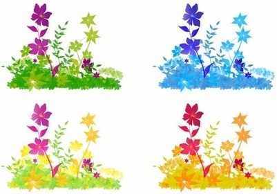 flowers push icons colorful decoration style