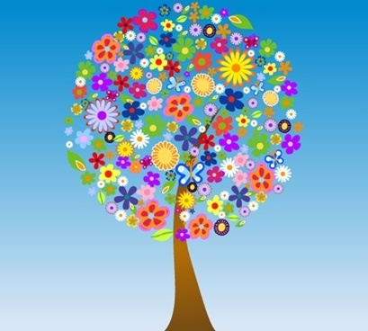 blooming flowers tree icon colorful cartoon style