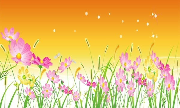 floral meadow background sky and colorful flowers design