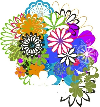 flowers background sketch colorful symmetric design style