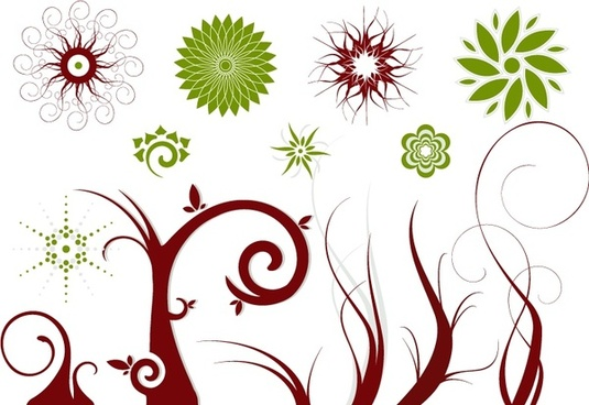 flowers trees design elements green brown classical style