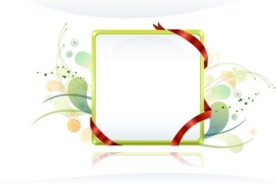 shiny plain frame design with red ribbon