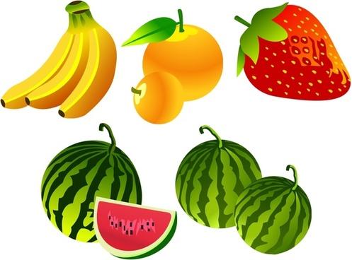 banana strawberry watermelon orange icons 3d colorful design