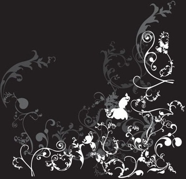 floral background classical curves decoration black white design