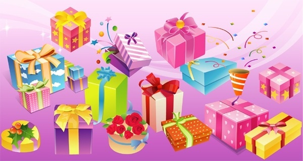 gift boxes collection various colorful shapes design