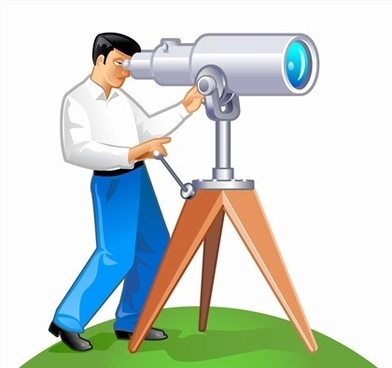 man using telescope theme colored style design