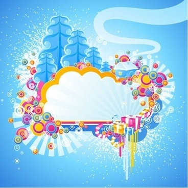 winter background banner colorful symbols decoration bright design