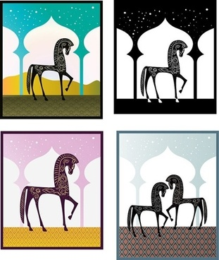 horse background sets muslim traditional style