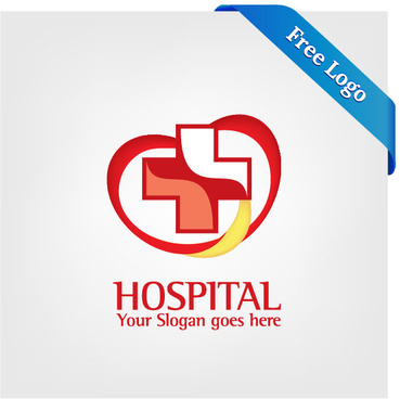 free vector heart care hospital logo