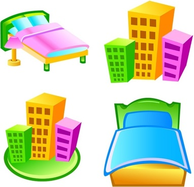 beds hotels icons design various colorful 3d styles