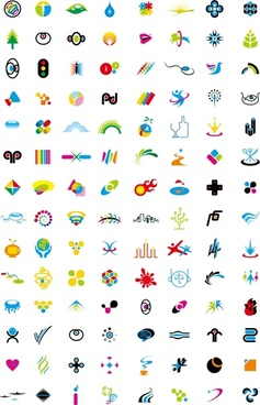 graphic icons collection various colorful symbol elements