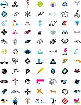 logo sets collection various colored icons design