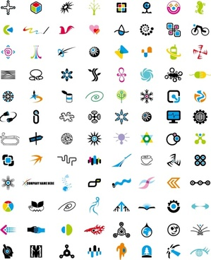 logotypes collection design various colorful shaped icons isolation