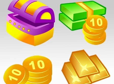 coins gold money treasure icons shiny colorful design