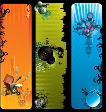 music banners sets instrument symbols decoration dark color