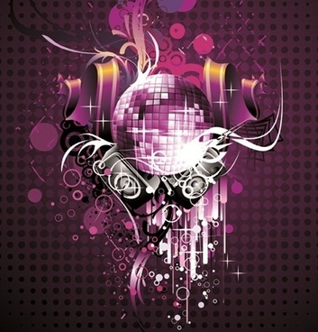 musical theme sparkling violet design disco baubles decoration