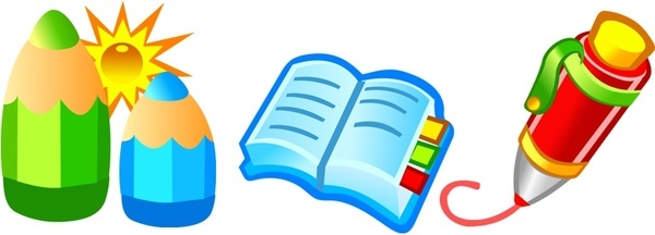pencil books icons design 3d cartoon style