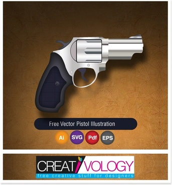 pistol icon shiny metallic decor