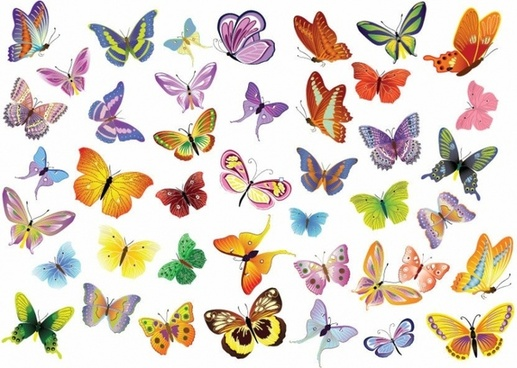Free Vector Set of Butterflies Decoration