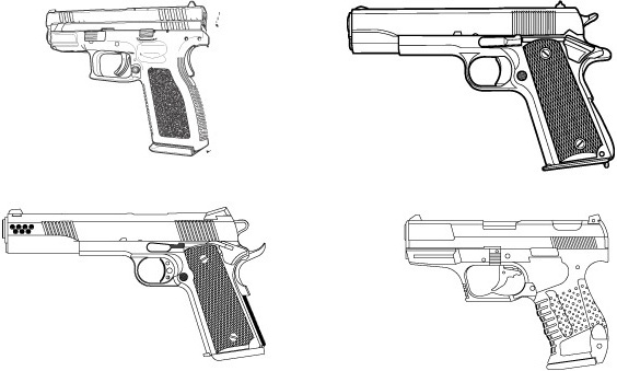 Free vector set of guns
