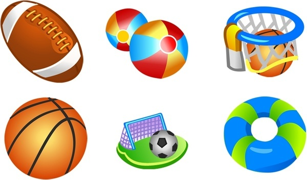sport icons collection 3d colorful cartoon design
