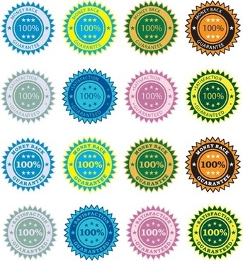 quality guarantee stickers various colored circle design