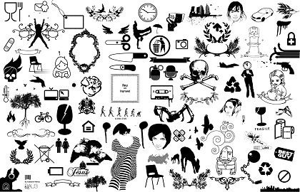 various icons collection black white design