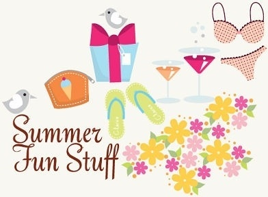 summer fun stuffs design elements various colored symbols