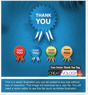 thanking tag templates colored flat serrated design