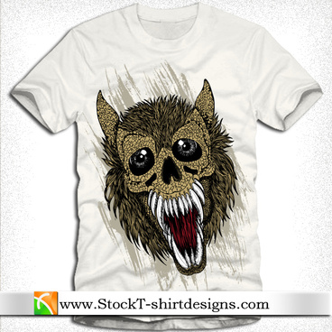 free vector tshirt design with wolf