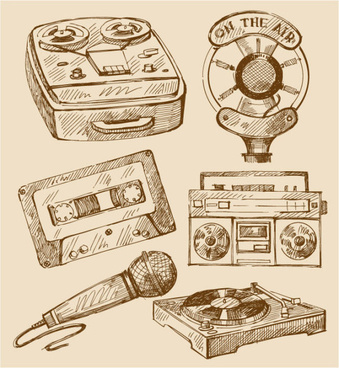 Free vector vintage recorder microphone