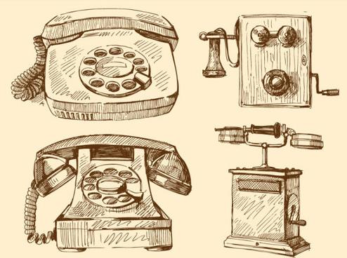free vector vintage telephone