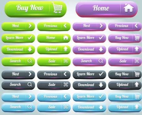 Free vector website pushbutton set
