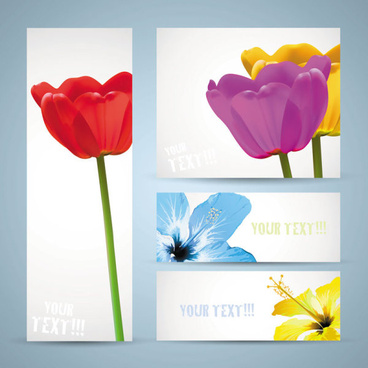 free vector with flowers banner