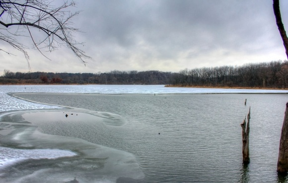 freezing lake at shabbona lake state park illinois