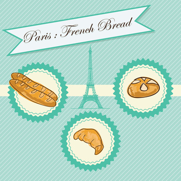french bread creative background vector