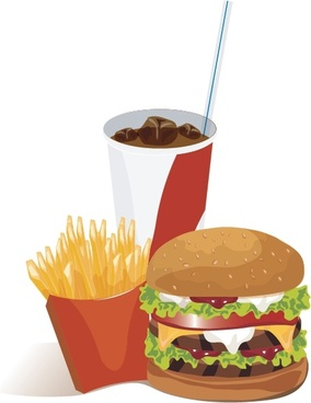 french fries hamburger cola vector