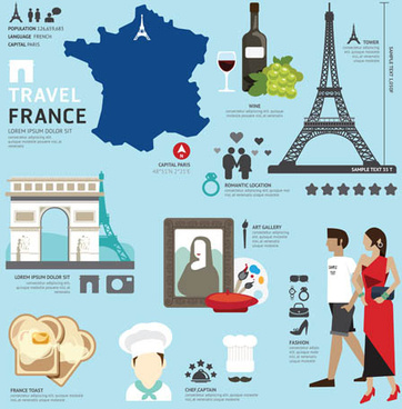 french tourism elements vector