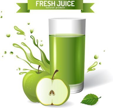 fresh apple juice creative design vector