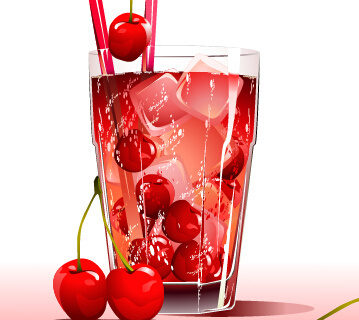 fresh cherries and ice drink vector
