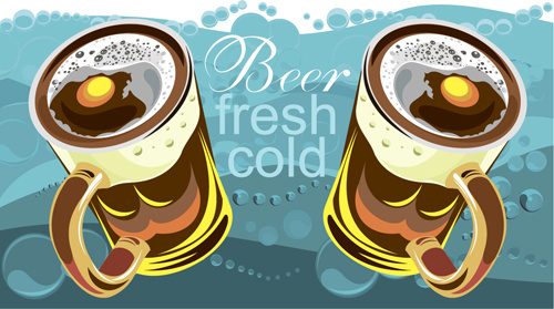 fresh cold beer vintage background vector