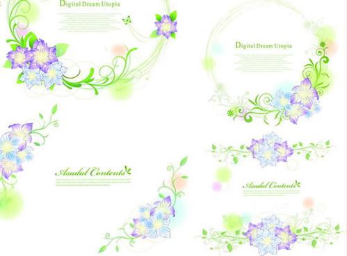 fresh floral frame vector