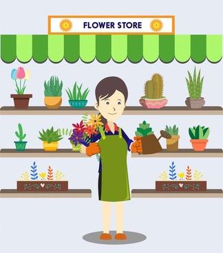 fresh flower store vector illustration with smiling owner