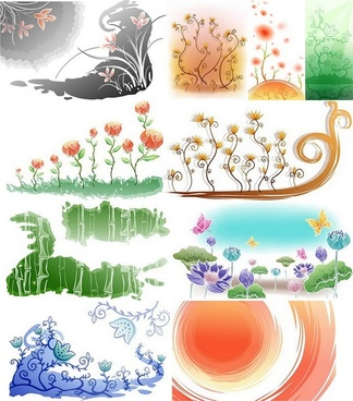 fresh flowers handpainted background vector 1 case